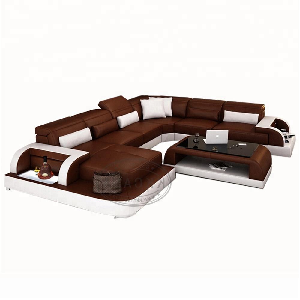 غرفة المعيشة U شكل طقم أريكة الاقسام تبسيط جلدية الميزات الاقسام الأثاث بانكوك تصميم مصنع