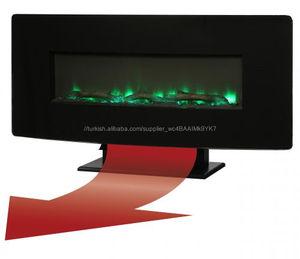 Ucuz elektrikli şömine 36 inç ön plaka bakır duvara monte LED elektrikli şömine