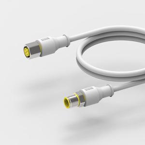 Gıda endüstrisi IP67 su geçirmez M 12 konnektörü 5 Pin erkek dişi a-kodu kalıplı PVC koruyuculu kablo
