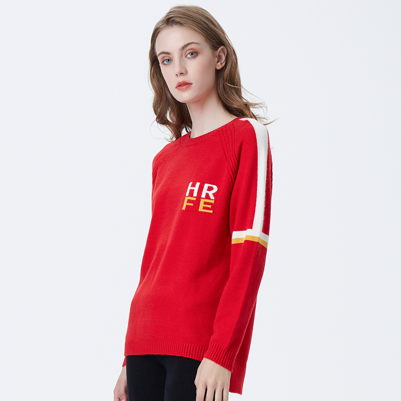 2020 новый дизайн Нерегулярные Женщины yong дамы свитер письмо Мода вязать свитер с круглым вырезом
