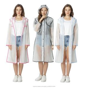 Las mujeres EVA reutilizable Protección física impermeables larga impermeable con capucha impermeable mantener lejos de gotas
