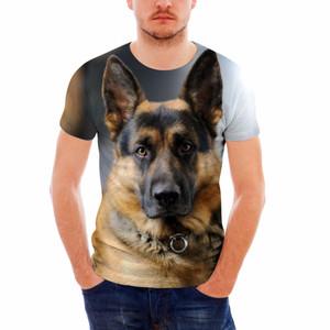 Cool German Shepherd 3D Printing Men Summer T Shirt Camiseta de manga corta transpirable Camisetas Novedad Hombre Ropa Hombre