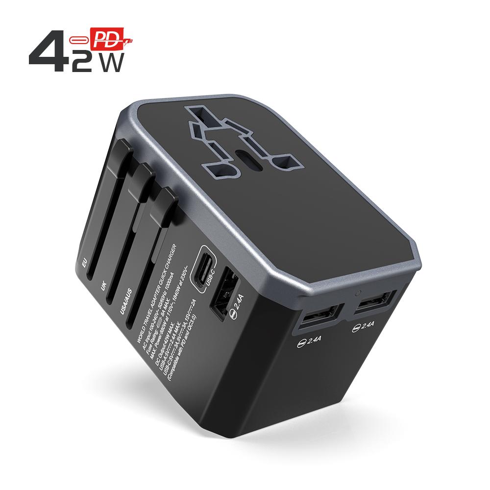 2019 Chuyến Du Lịch phổ bộ chuyển đổi EU AUS ANH MỸ cắm Loại-C sạc nhanh 42 W PD USB bộ chuyển đổi điện cắm ổ cắm