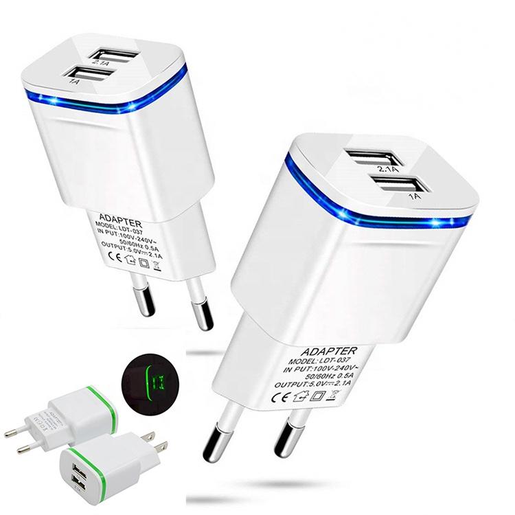 Adaptador Plug Ue carregador de Casa inteligente Telefone Móvel Dual Usb Carregador de Parede