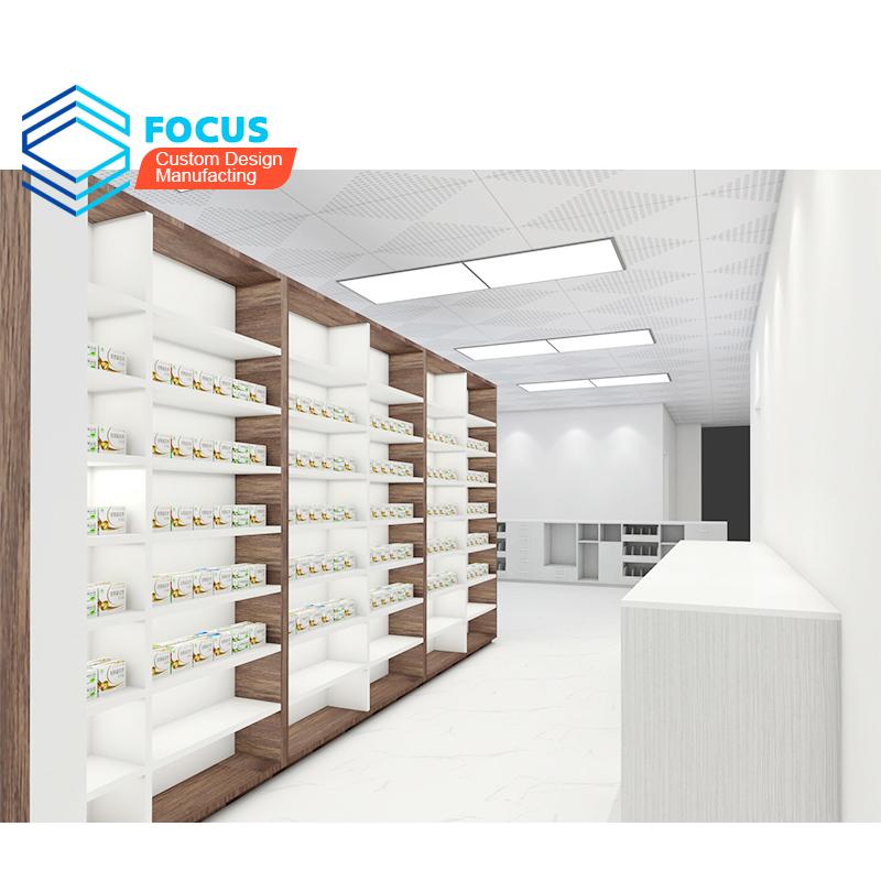 Offre Spéciale Meubles Guangzhou Stratifié Pharmacie Comptoir Conceptions De Vitrine En Bois Pour La Décoration De Magasin Médic