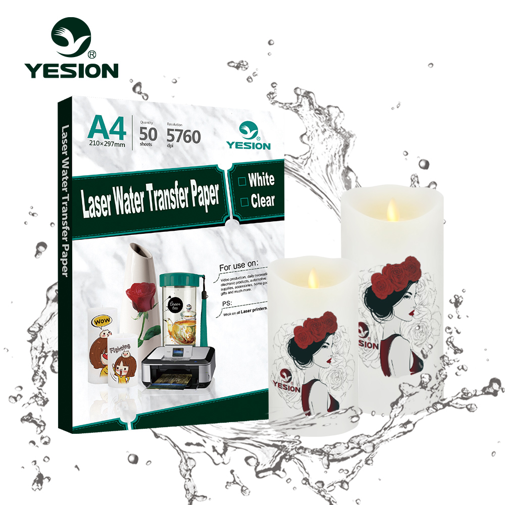 マルチユース転写紙 A4 インクジェット/レーザー水転写紙キャンドル、、プラスチック、セラミック、金属