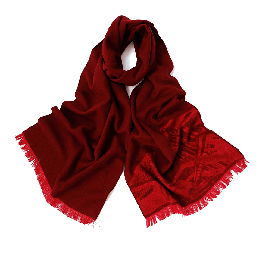 Laine à la mode En Gros Chine 70% Pashmina 30% Soie Gland Bordure Solide Rouge Foulards