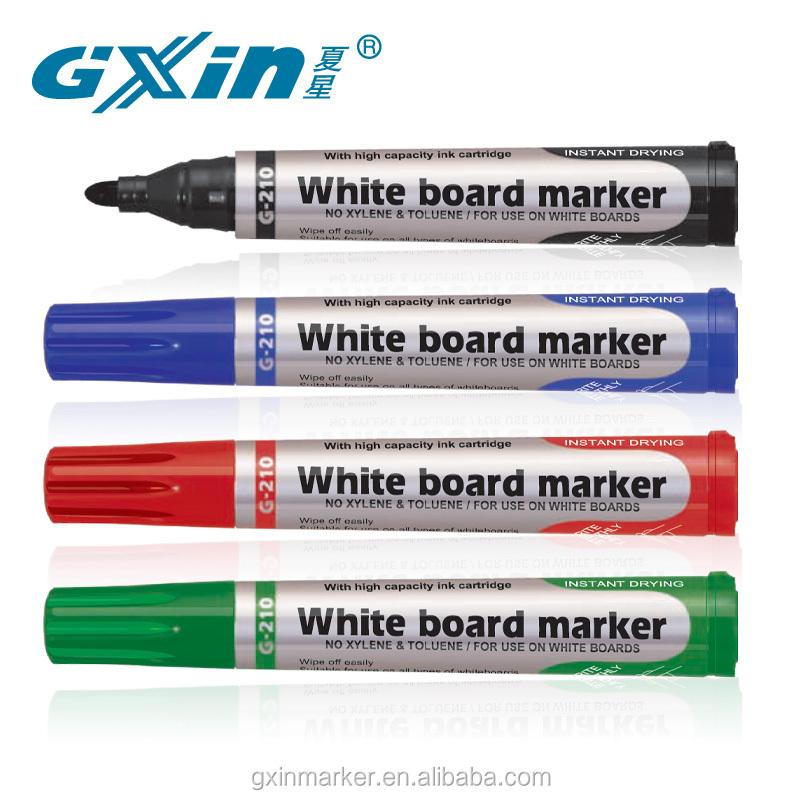 G-210 Пользовательский логотип 4 вида цветов Сухой быстрый свет gxin белая доска ручка