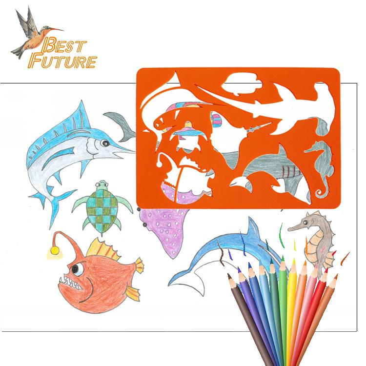 TỰ LÀM sinh thái thân thiện với đại dương cá vẽ stencil văn phòng phẩm