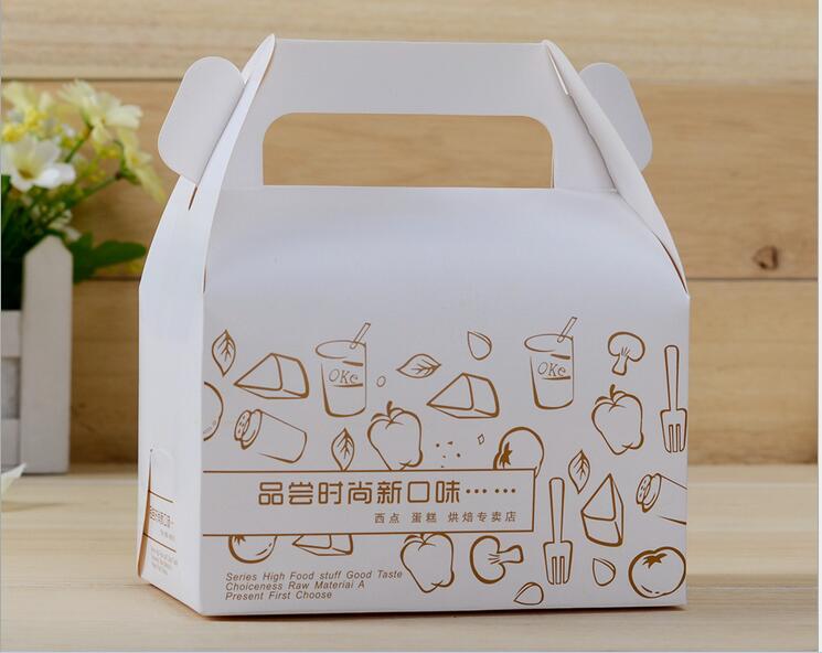 Yılbaşı sanat kağıt düğün pastası kutusu saplı tasarım, kraft kağıt hediye kutusu baskı lr3166