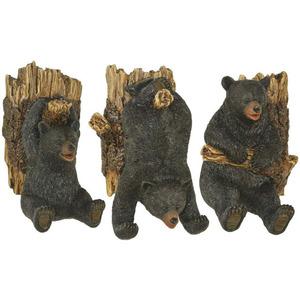 مجموعة من ثلاثة الراتنج الدب الأسود على سجلات جدار السنانير-لودج ديكور