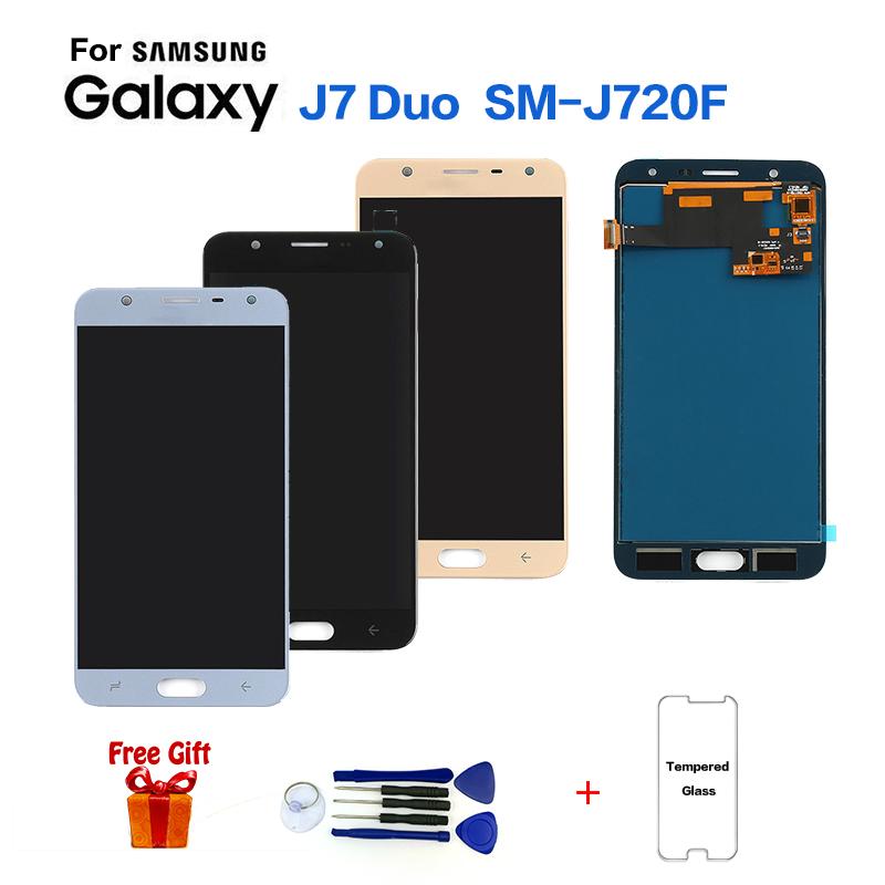 Spedizione Gratuita Touchscreen Display per Samsung Galaxy J7 Duo J720 J720F TFT LCD Display Touch Screen Digitizer Assembly