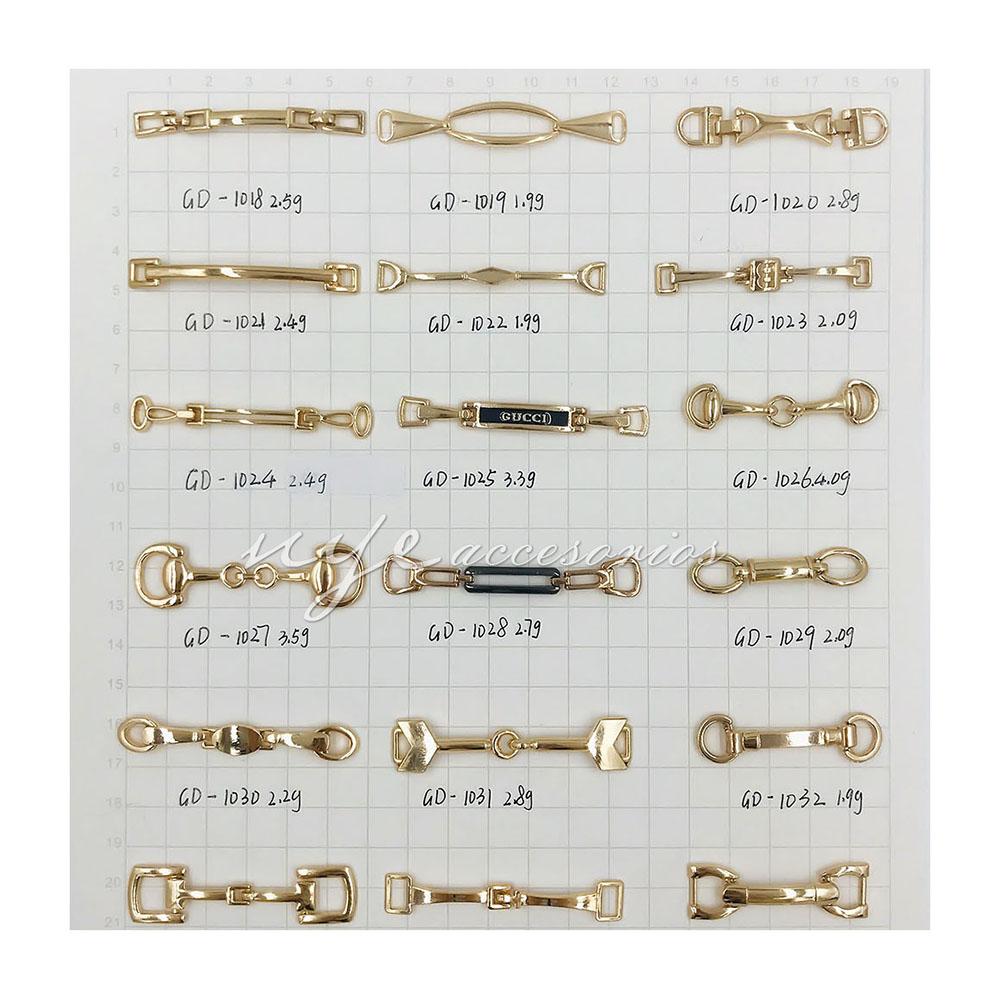Élégant or accessoires de décoration de chaussures de danse en cuir de boucle de chaîne en métal pour