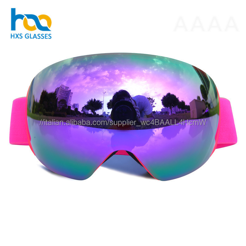 Commercio all'ingrosso Anti-Uv di Protezione Degli Adulti Da Sci Da Neve Occhiali Occhiali Da Sci Snowboard Occhiali Ampio Angolo di Revo Lente Rivestimento di Occhiali Da Sci