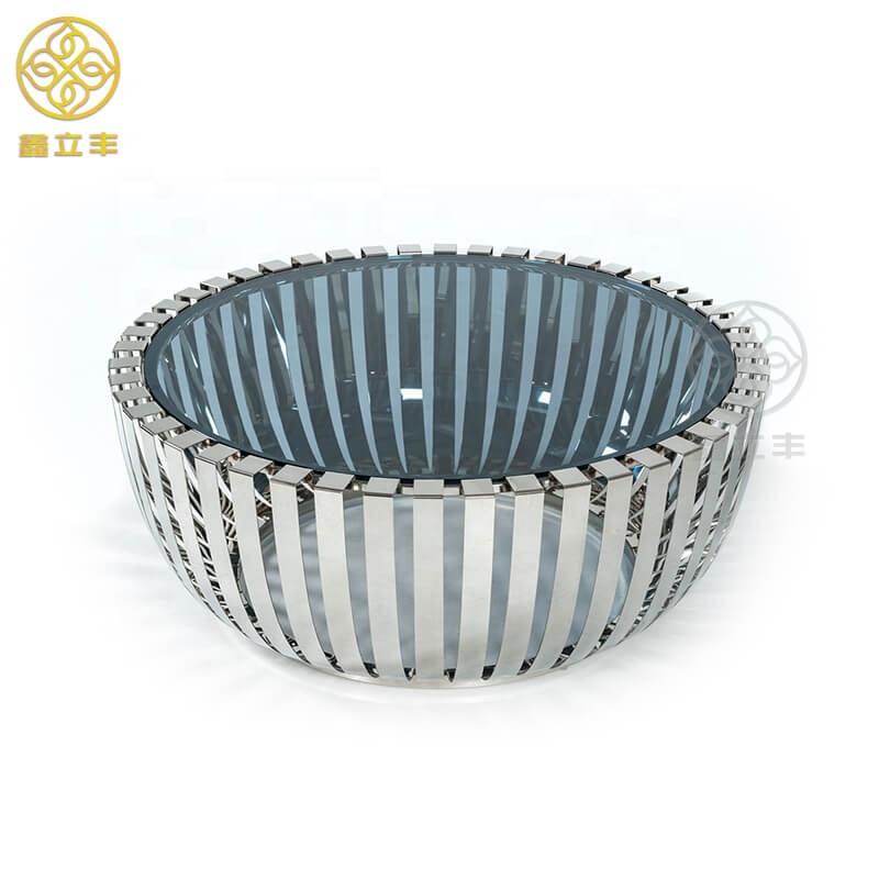 Guangdong Xinlifeng fábrica de Metal negro y juego de mesa de centro <span class=keywords><strong>superior</strong></span> de cristal