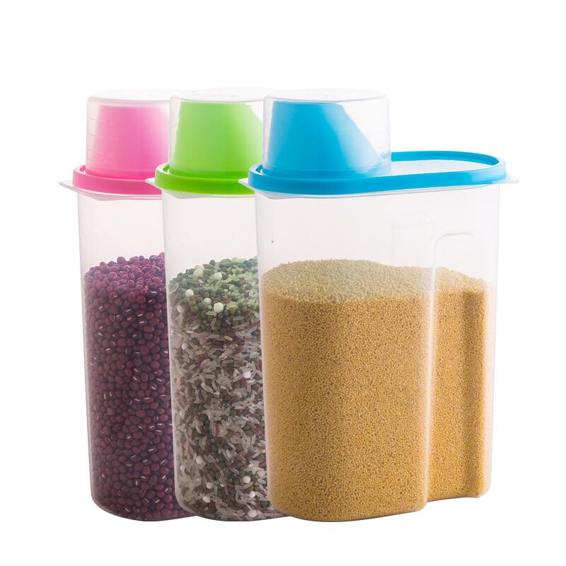 organización cocina arroz de harina de grano de plástico contenedor de almacenamiento de alimentos con la taza de medición