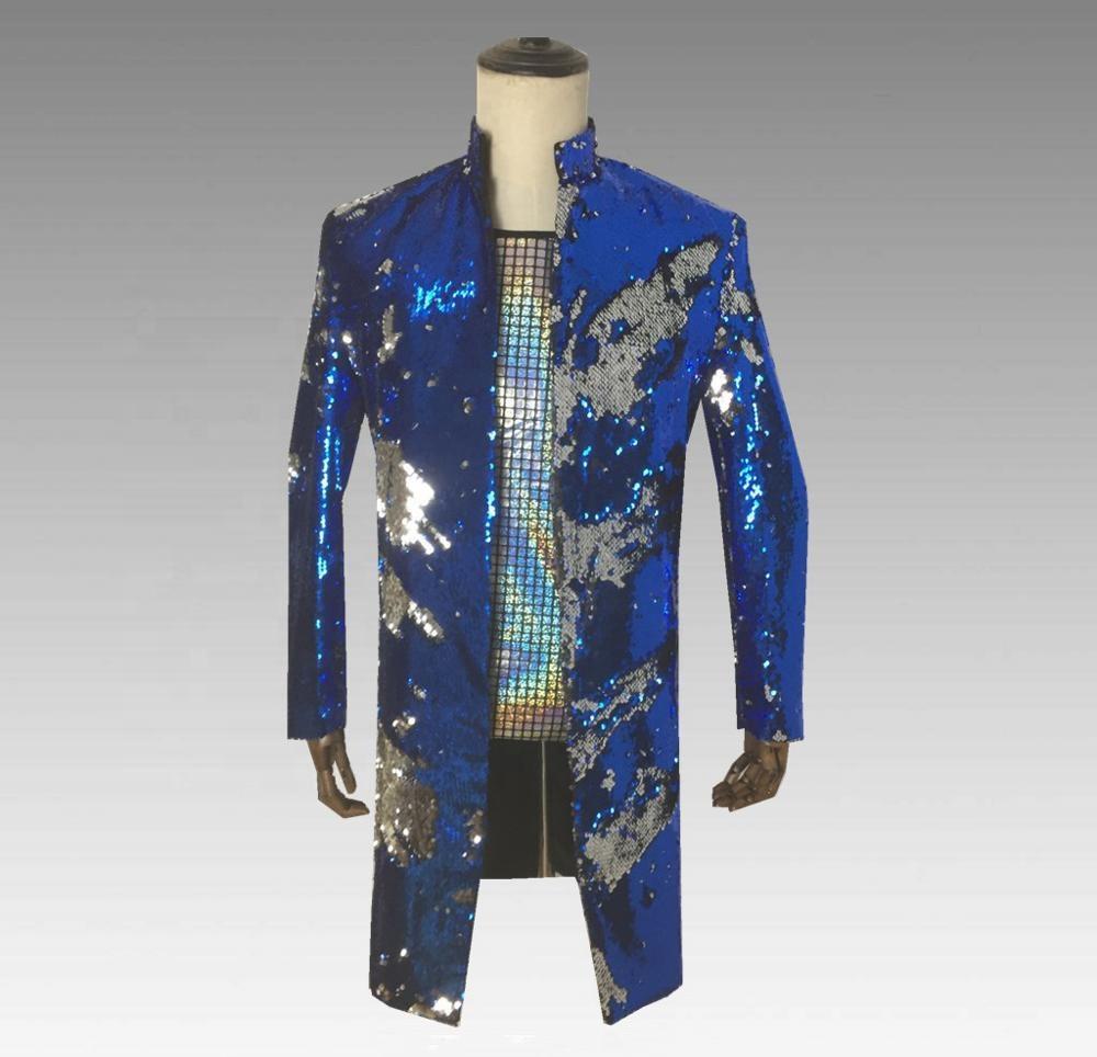 Красочные блёстки костюм длинный пиджак для мужчин стенд воротник блейзер s праздничная одежда Длинные пиджаки