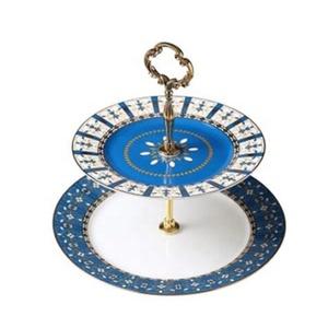 Atacado royal fine bone china dois azul prato de bolo estande 2 pneu
