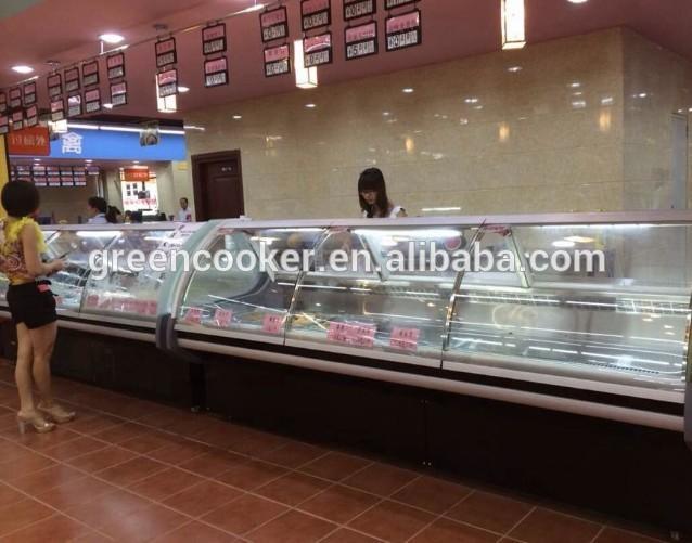 Levantamento frontal de peixes de vidro vitrine de exibição refrigerador