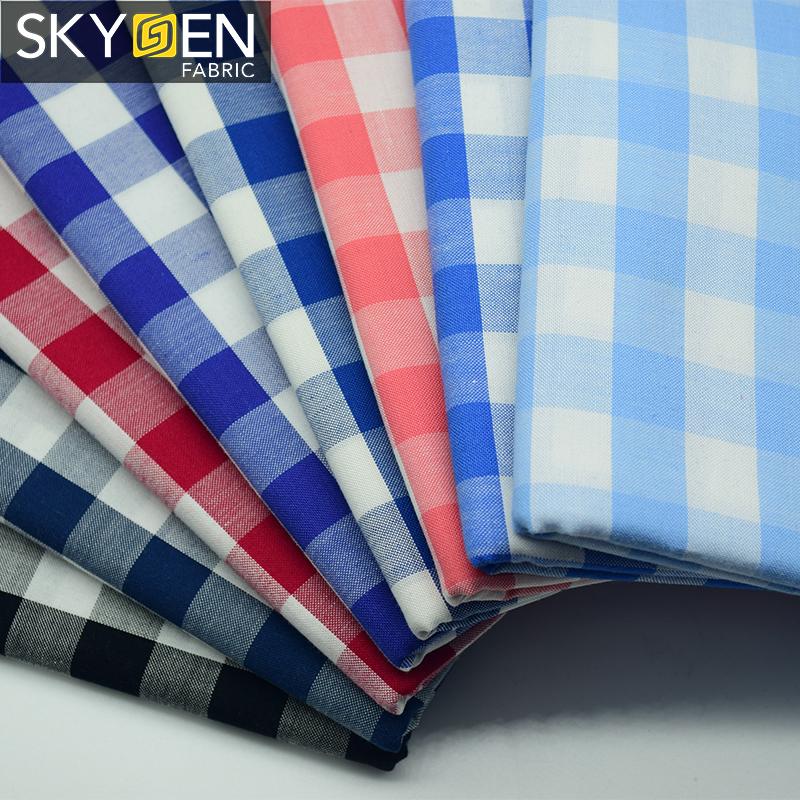 Skygen iplik boyalı yumuşak oxford erode pamuk çivit indigo büyük çek tasarım kumaş