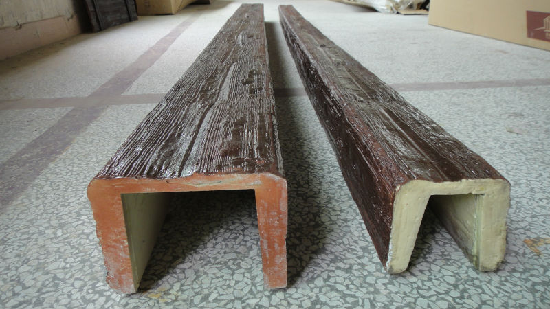 Guangzhou Polyurethane decorative Faux Wood Beams U shape Lowes Light Weight for Interior ...