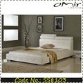 plateado cama de cuero de estilo europeo
