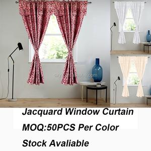 Poliéster Jacquard ventana cortina con cenefa de varilla bolsillo habitación cortina de ventana panel 60x84 + 18in Damasco vino