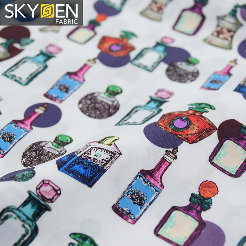 Skygen % 100% organik pamuk düz örgü yumuşak parfüm şişesi dijital baskılı ucuz tekstil malzeme konfeksiyon kumaş erkekler için