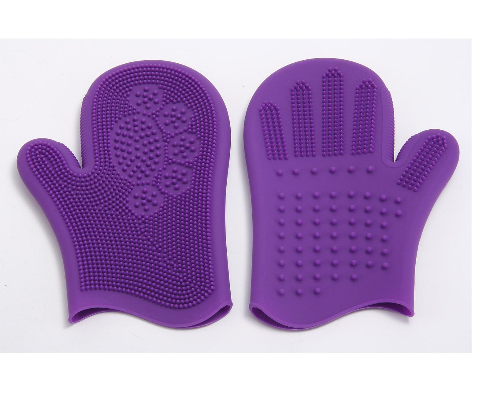 silicona de aseo de mascotas guantes para mascotas perros y gatos de baño novio impermeable para mascotas guantes de limpieza