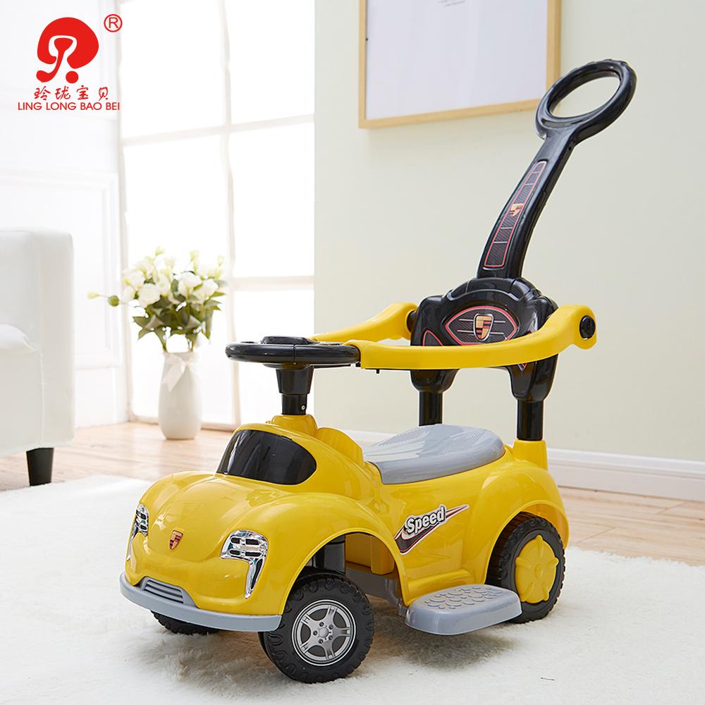 Niño coche de juguete carrito de bebé en forma de coche de plástico coche cochecito con barra de empuje