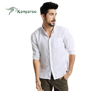 Più nuovo Trendy Mens Cotone Autunno Biancheria Collare Tre Quarti Slim Fit Camicia di Vestito Standard