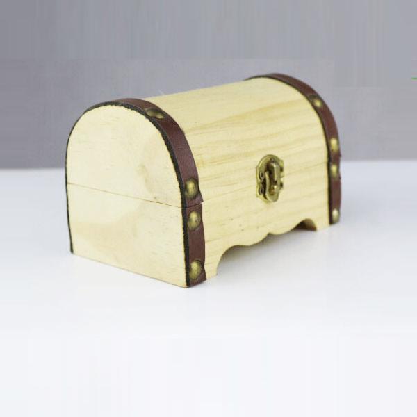 Caixa de brinquedo de madeira pequeno tronco peito treasure chest com bloqueio