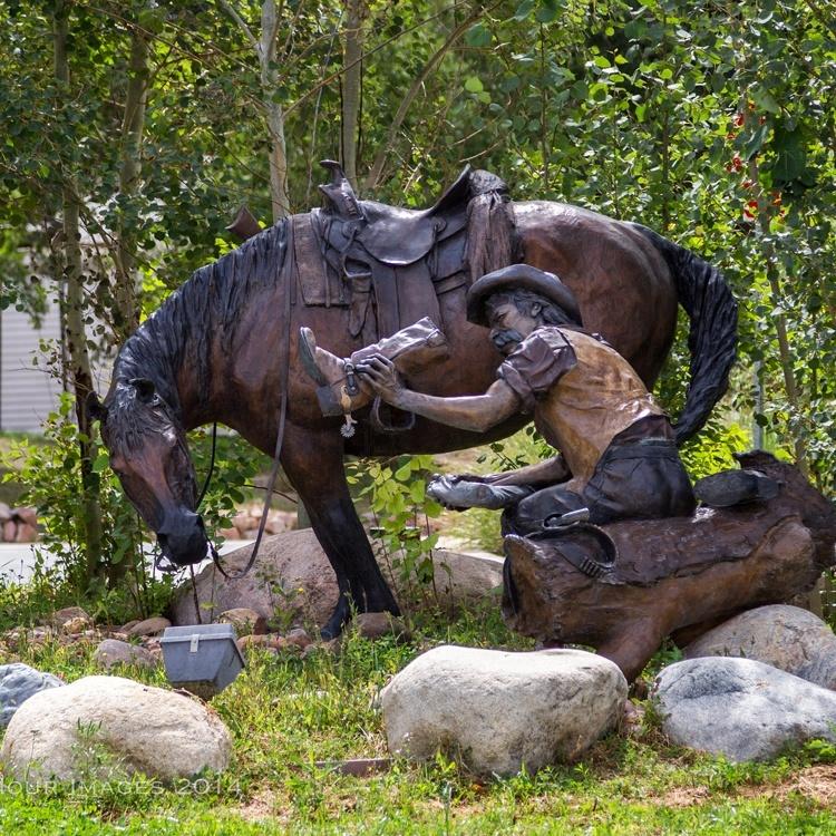 Bronz el sanatları döküm süvari dinlenme heykel kovboy heykeli bahçe için