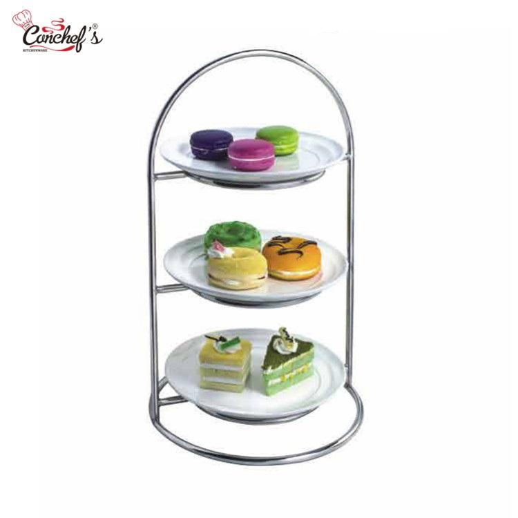 Toptan 3 katmanlı büfe plaka standı, servis standları yüksek çay için