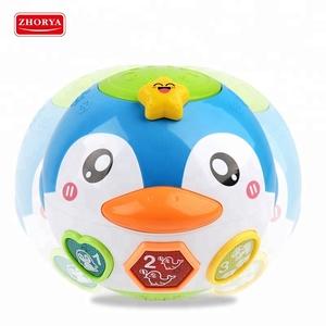 ペンギン回転音楽ライト安全学習脳の開発のおもちゃ