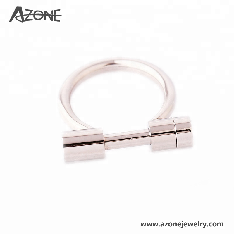 도매 Fashion Jewelry Women D Shape 말 슈 Silver Stainless Steel Rings