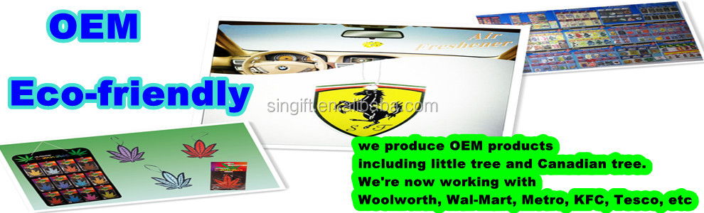 Custom design Paper Car Air Freshener for promotion (ecofriendly)
