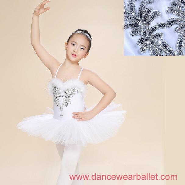 Children Fairy Princess Swan Lake Feather Sequin Dance Ballet Costumes Tutu 1