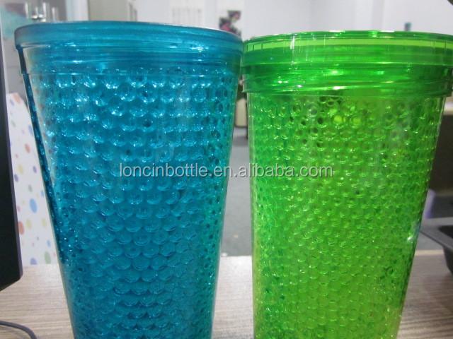 Drinkware Plastic Cups Freezer Gel Insulated Tumbler