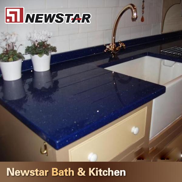 cocina de brillo azul cuarzo encimera de piedra-Piedras artificiales ...