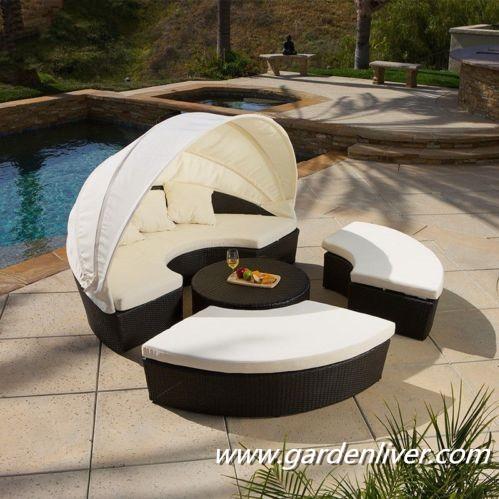 Moderne kd en rotin ext rieur piscine transat prix rond - Lit sofa rond exterieur ...