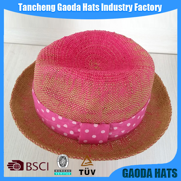 Big brim Ladies panama paper hats with lace decorations