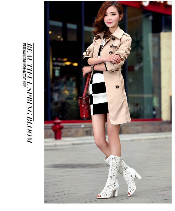 Free Shipping 2014 Spring Summer Women Boots Genuine Leather Peep
