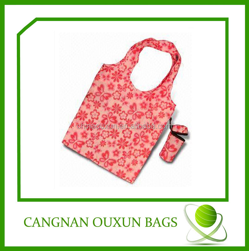 new design customized nylon sunflower foldable shopping bag