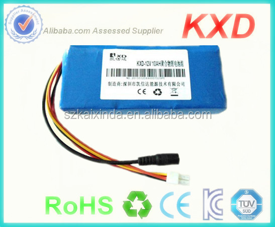 small rechargeable 12v battery lithium polymer 10ah for e-bike