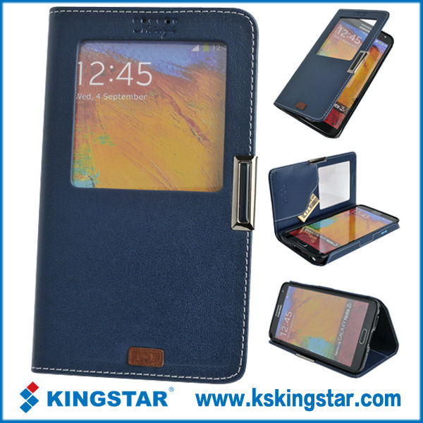 window for samsung pu leather case
