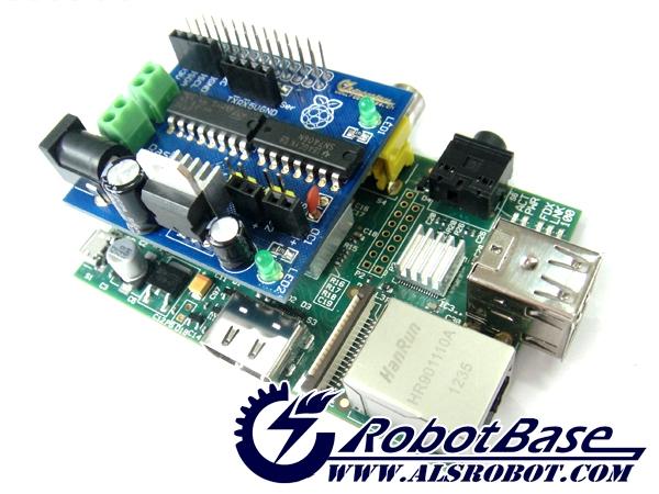 Raspirobot board raspberry pi dc motor driver raspi shield for Dc motor raspberry pi