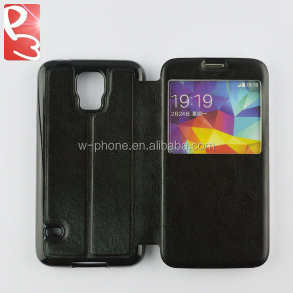 Black S View Galaxy S5 Flip TPU Leather Case for Samsung G900