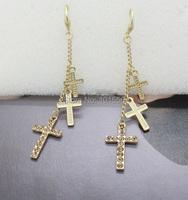 Новый дизайн кристалл крест классический долго болтаться падение Серьги свадьбу элегантные Золотые серьги Бижутерия для женщин