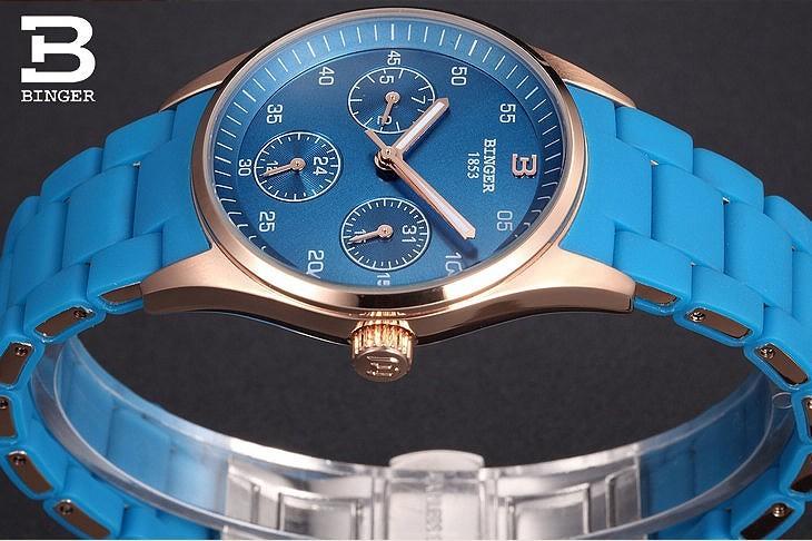 Швейцария Бингер новый синий любовь часы женщины розовое золото спортивные часы водонепроницаемые стальной ленты роскошные мода досуг наручные часы